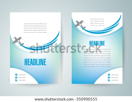 flyer brochure design template cover airplane flight air rc fly symbol - stock vector