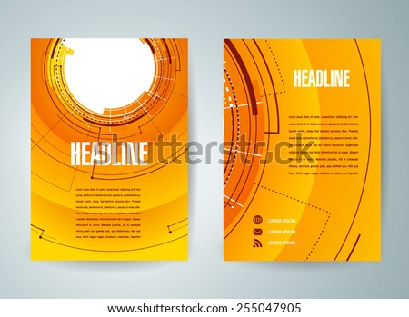 flyer brochure design template future hud circles technological - stock vector