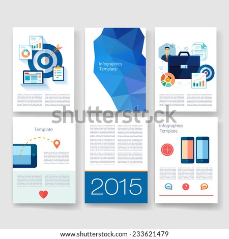 Flyer, Brochure Design Templates set. Geometric Triangular Abstract Modern Backgrounds. Mobile Technologies, Applications and Infographic Concept.  - stock vector