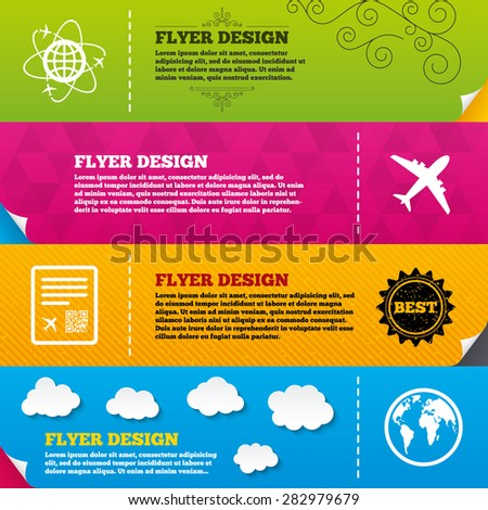 Flyer brochure designs. Airplane icons. World globe symbol. Boarding pass flight sign. Airport ticket with QR code. Frame design templates. Vector - stock vector