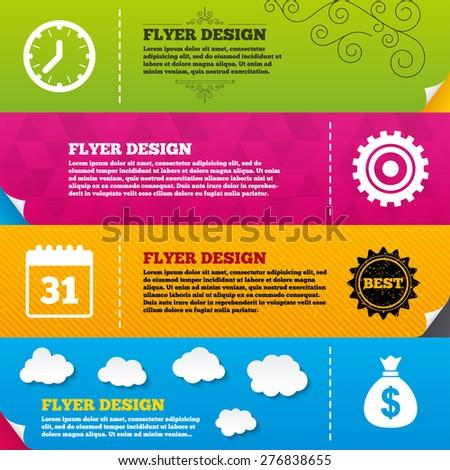 Flyer brochure designs. Business icons. Calendar and mechanical clock signs. Dollar money bag and gear symbols. Frame design templates. Vector - stock vector