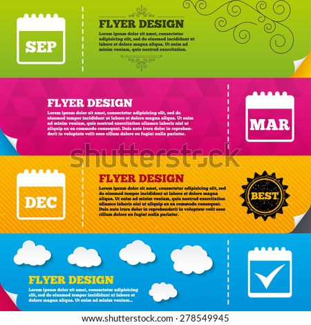 Flyer Brochure Designs Calendar Star Favorite Stock Vector