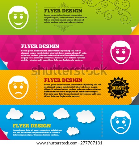 Flyer brochure designs. Human smile face icons. Happy, sad, cry signs. Happy smiley chat symbol. Sadness depression and crying signs. Frame design templates. Vector - stock vector