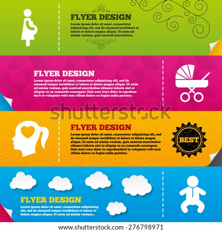 Flyer brochure designs. Maternity icons. Baby infant, pregnancy and buggy signs. Baby carriage pram stroller symbols. Head with heart. Frame design templates. Vector - stock vector