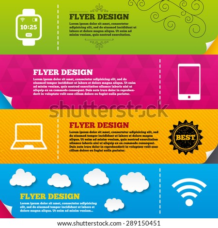 Flyer brochure designs. Notebook and smartphone icons. Smart watch symbol. Wi-fi and battery energy signs. Wireless Network symbol. Mobile devices. Frame design templates. Vector - stock vector