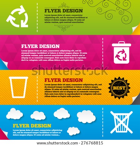 Flyer brochure designs. Recycle bin icons. Reuse or reduce symbols. Trash can and recycling signs. Frame design templates. Vector - stock vector