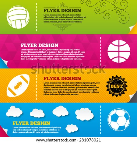Flyer brochure designs. Sport balls icons. Volleyball, Basketball, Soccer and American football signs. Team sport games. Frame design templates. Vector - stock vector