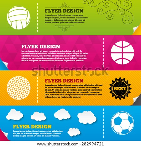 Flyer brochure designs. Sport balls icons. Volleyball, Basketball, Soccer and Golf signs. Team sport games. Frame design templates. Vector - stock vector