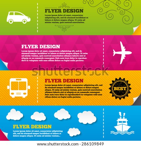 Flyer brochure designs. Transport icons. Car, Airplane, Public bus and Ship signs. Shipping delivery symbol. Air mail delivery sign. Frame design templates. Vector - stock vector