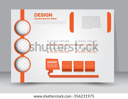 Flyer, brochure, magazine cover template design landscape orientation for education, presentation, website. Orange color. Editable vector illustration. - stock vector