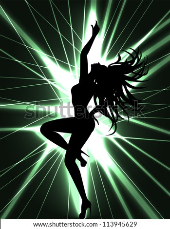 Flyer card for disco party with silhouette of dancing sexy woman. go-go dancer and laser show. - stock vector
