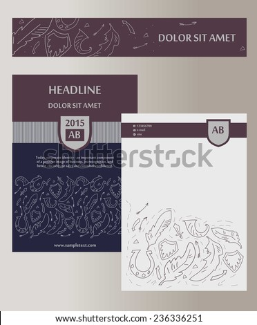 Flyer, cover. Template with heraldic elements. Status, masculinity. Corporate identity for legal, security company. Space for text.  - stock vector