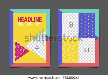 Flyer Design Template, Colorful Abstact Background - stock vector