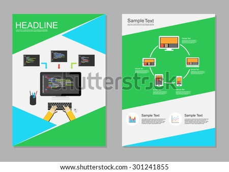 Flyer design template. Information technology infographic elements. IT background. Programming background. Brochure templates. - stock vector