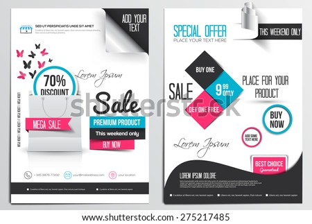 Flyer Design Template. Sale and shopping  concept, Abstract Modern Design, Business brochure. Vector - stock vector