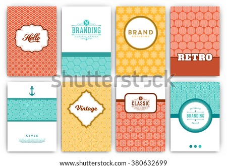 Flyer Design Template Set - Retro Ornamental Style - Ideal template design for restaurant, hotel, cafe or other businesses with classic or ethnic corporate identity - stock vector