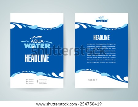 flyer design template water aqua splash drops blue - stock vector
