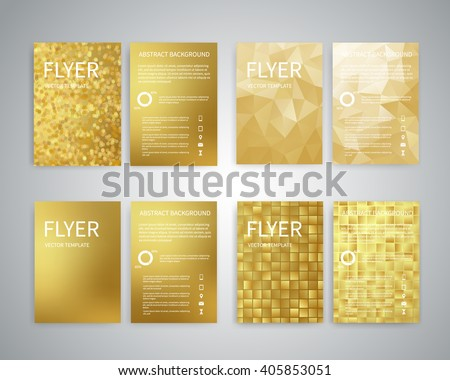Flyer design templates. Set of A4 brochure flyer design templates with geometric abstract modern backgrounds. Design for advertising, publications, Infographic concept, technologies, reporting EPS10 - stock vector