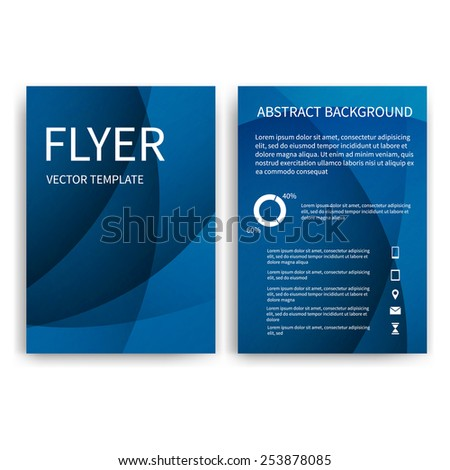 Flyer design templates. Set of blue A4 brochure design templates with geometric triangular abstract modern backgrounds. Infographic concept, mobile technologies, applications and online services - stock vector