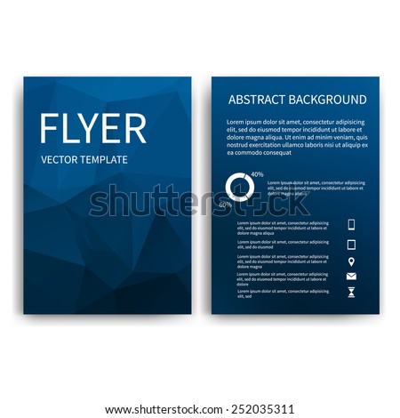 Flyer design templates. Set of dark blue A4 brochure design templates with geometric triangular abstract modern backgrounds. Infographic concept, mobile technologies, applications and online services
