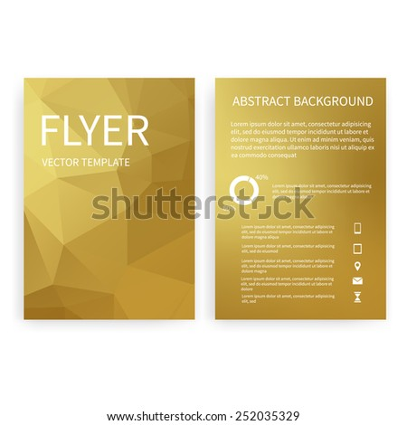 Flyer design templates. Set of gold A4 brochure design templates with geometric triangular abstract modern backgrounds. Infographic concept, mobile technologies, applications and online services - stock vector