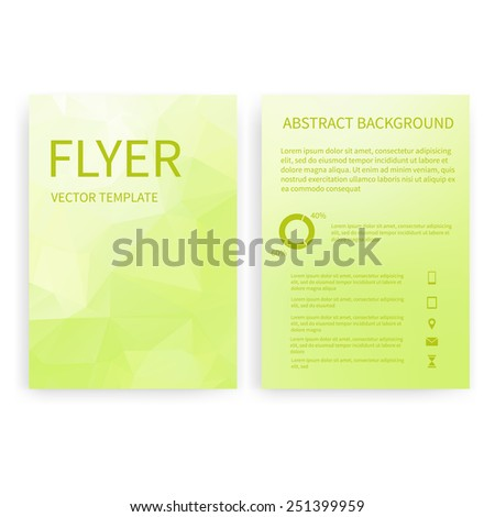 Flyer design templates. Set of green A4 brochure design templates with geometric triangular abstract modern background. Infographic concept, mobile technologies, applications and online services - stock vector