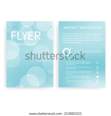 Flyer design templates. Set of light blue bokeh A4 brochure design templates with geometric abstract modern backgrounds. Infographic concept, mobile technologies, applications and online services