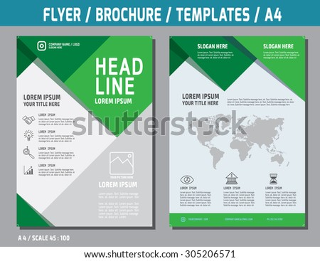 Flyer design vector template in A4 size.