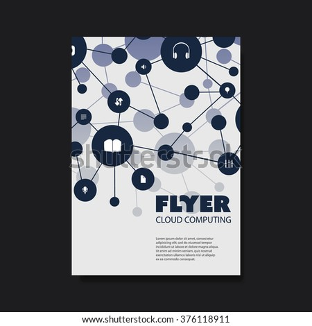Flyer of Cover Design Template with Cloud Computing, Networks Design Background - stock vector
