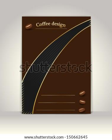 Flyer or brochure template, coffee design - stock vector