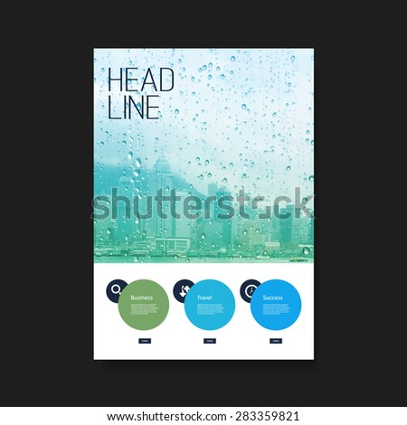 Flyer or Cover Design - Skyscrapers in the Rain - stock vector