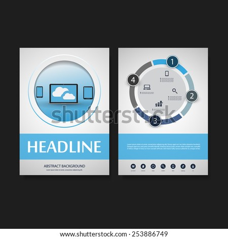 Flyer or Cover Design Template - Business, Networks, Cloud Computing - Corporate Identity Concept - stock vector