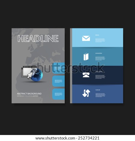 Flyer or Cover Design Template Set - Business, Network, Corporate Identity - stock vector