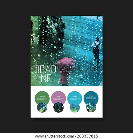 Flyer or Cover Design - Umbrella in the Rain - stock vector