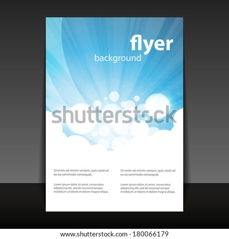 Flyer or Cover Design with Abstract White-Blue Background - stock vector
