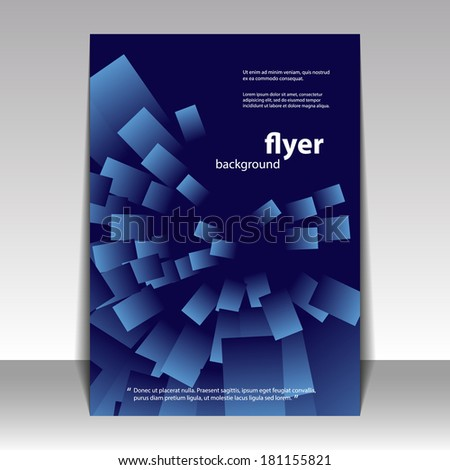 Flyer or Cover Design with Blue Abstract Pattern
