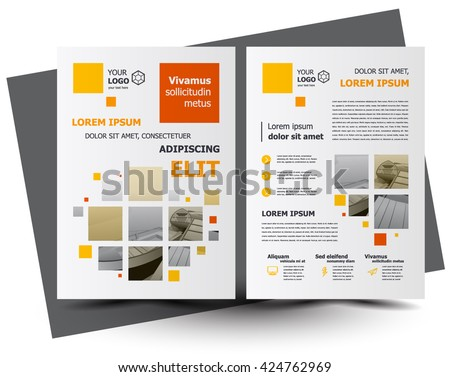 Flyer squares brochure design, business flyer size A4 template, creative leaflet, trend cover  - stock vector