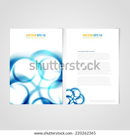 Flyer template back and front design. Brochure design templates collection with blue curve - stock vector