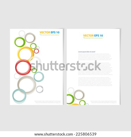 Flyer template back and front design. Brochure design templates collection with color circles - stock vector