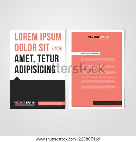 Flyer template back and front design. Brochure design templates collection with red paper - stock vector