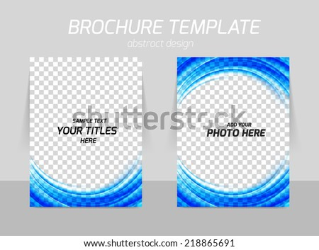 Flyer template back and front design in blue color - stock vector