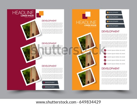 Flyer Template Brochure Set Annual Report Cover Design Business Or Education Poster