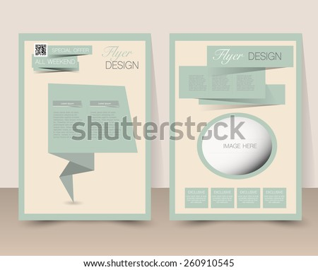 Flyer template. Business brochure. Editable A4 poster for design, education, presentation, website, magazine cover. Retro style. Green and yellow color. - stock vector