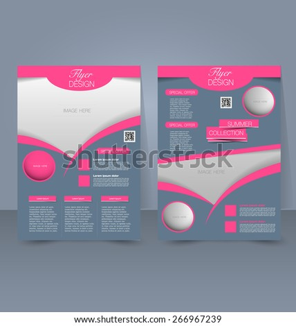 Flyer template. Business brochure. Editable A4 poster for design, education, presentation, website, magazine cover. Pink, grey and silver color. - stock vector