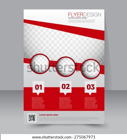 Flyer template. Business brochure. Editable A4 poster for design, education, presentation, website, magazine cover. Red color - stock vector