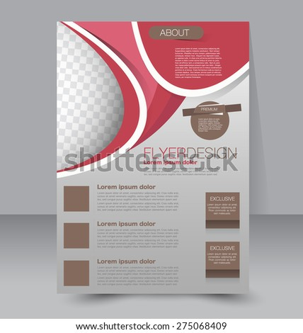 Flyer template. Business brochure. Editable A4 poster for design, education, presentation, website, magazine cover. Red and brown color - stock vector