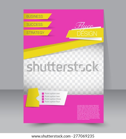 Flyer template. Business brochure. Editable A4 poster for design, education, presentation, website, magazine cover. Pink and yellow color. - stock vector