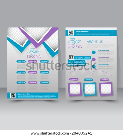 Flyer template. Business brochure. Editable A4 poster for design, education, presentation, website, magazine cover. Purple and blue color. - stock vector