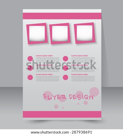 Flyer template. Business brochure. Editable A4 poster for design, education, presentation, website, magazine cover. Pink color. - stock vector