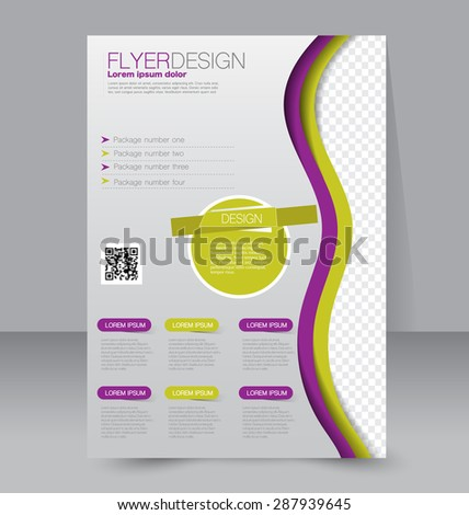 Flyer template. Business brochure. Editable A4 poster for design, education, presentation, website, magazine cover. Green and purple color. - stock vector